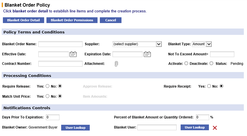 Fig 7.221 Blanket order policy screen – amount type selected.png
